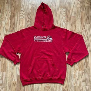 QUIKSILVER RED ORIGINAL BOARDSHORT HOODIE SZ LARGE